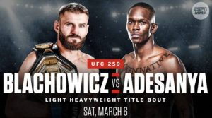 UFC 259: Israel Adesanya vs Jan Blachowicz Odds